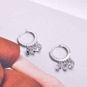 NEW 925 Sterling Silver Diamond Hoop Drop Earrings
